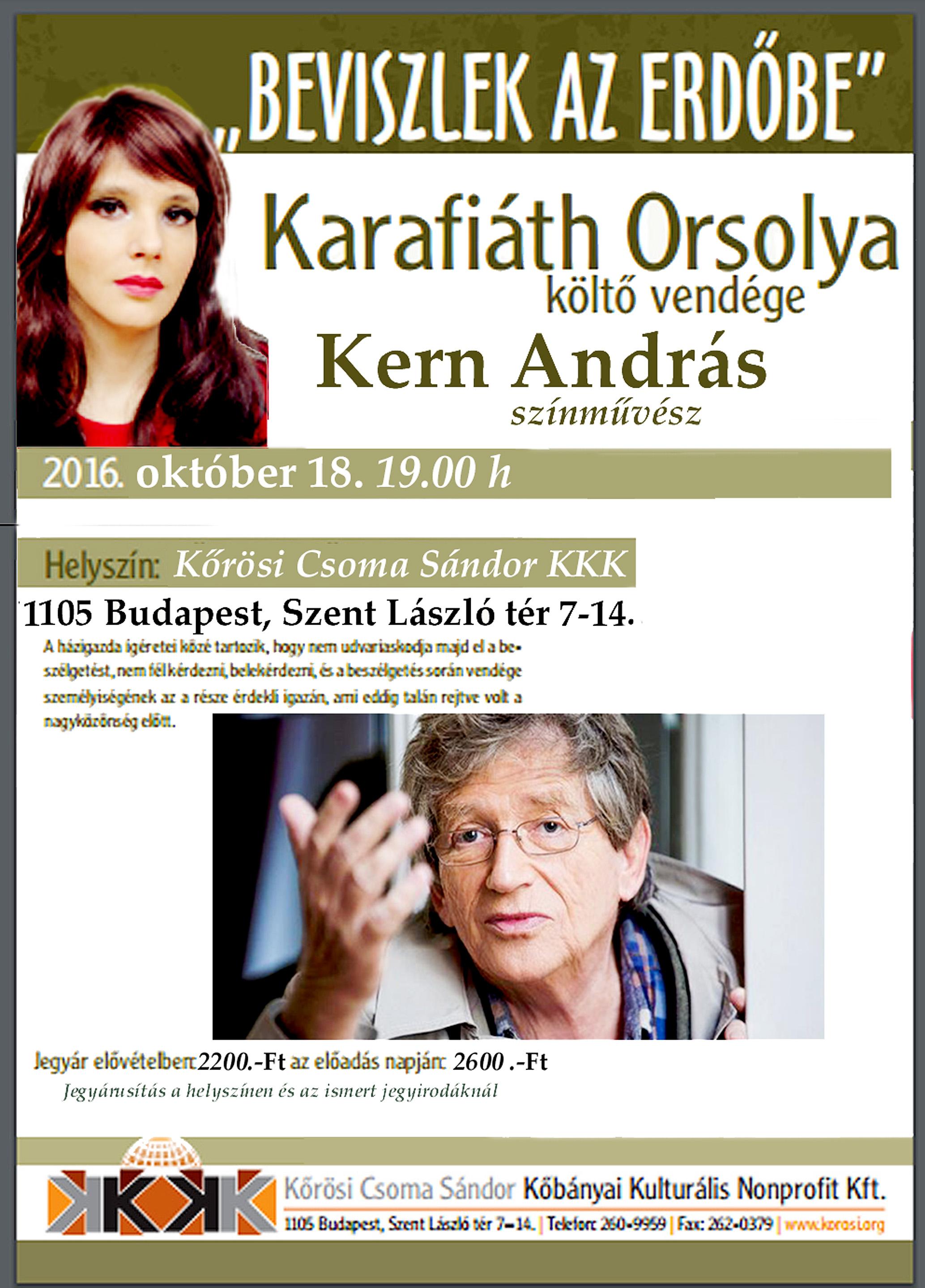 Karafiáth Orsolya és Kern András beszélgetős műsora